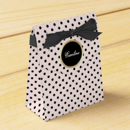 Blush Pink | Black Dots Custom Name Favor Boxes - black gifts unique cool diy customize personalize