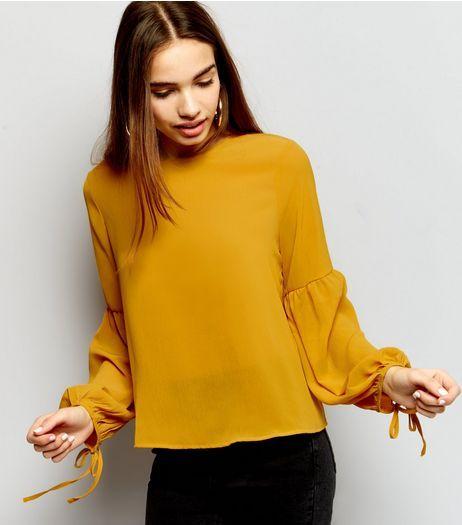 Yellow Tie Bell Sleeve Top | New Look