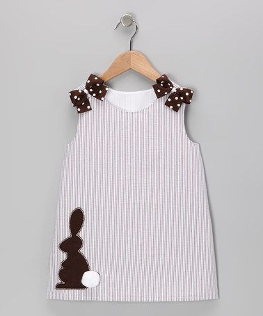Look at this #zulilyfind! Khaki Rabbit Seersucker Jumper - Infant & Toddler by Heart & Soul #zulilyfinds