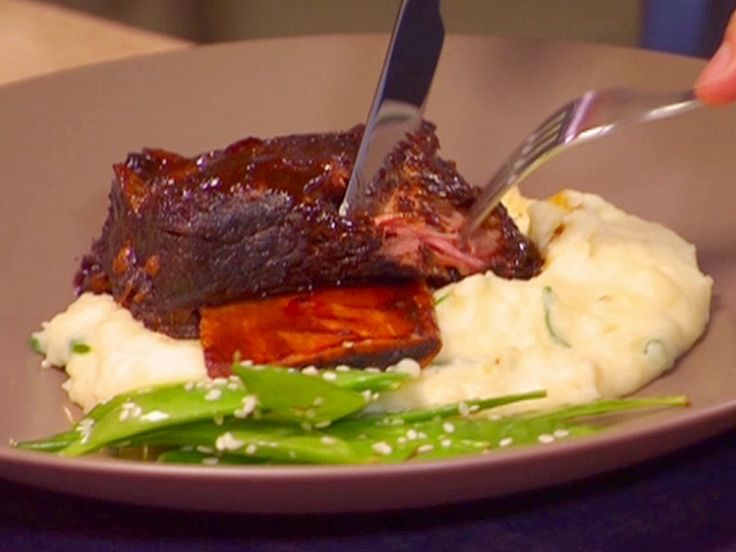 Braised Hoisin Beer Short Ribs with Creamy Mashed Yukons and Sesame Snow Peas recipe from Dave Lieberman via Food Network