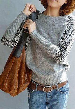 Price:33 USD  Color:little grey/little brow/dark brow Leisure Off Shoulder Leopard Print Pullover Knit Sweater