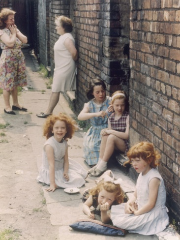 Women and Young Girls Out in the Street - Manchester 1965
