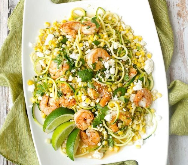 Mexican Street Corn, Zucchini & Shrimp | 10 Succulent Mexican Shrimp Recipes | These Are Easy, Classic, Delicious And So Perfect For Dinner by Homemade Recipes at http://homemaderecipes.com/10-mexican-shrimp-recipes/