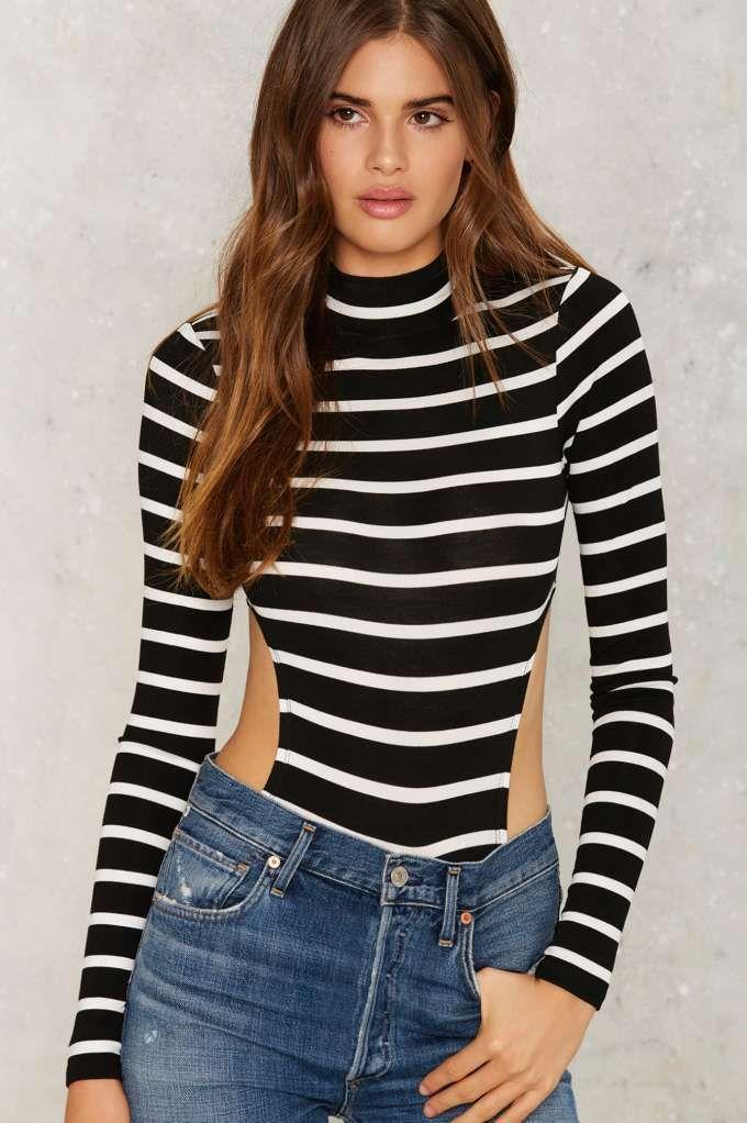 Mock That Mock Stripe Bodysuit   Shop Clothes at Nasty Gal!