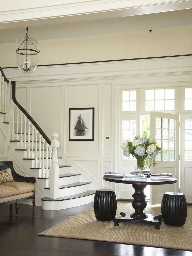 linen white paint entry traditional with transom window prints and posters