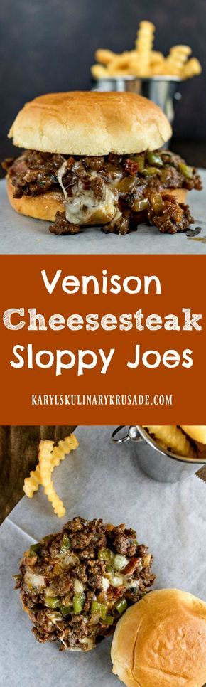 Venison Cheesesteak Sloppy Joes. A fabulously flavorful combination of burger and cheesesteak. And did I mention bacon?! Enjoy these as sandwiches, sliders, or even just in a bowl. Just dive in, and make sure you have napkins handy! #karylskulinarykrusade #venison #gamemeat #deermeat #cheese #bacon #sandwich