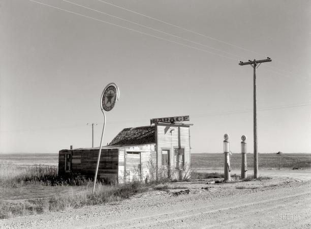 "Last Chance Texaco  October 1937. ""Abandoned garage on Highway No. 2. Western North Dakota."""