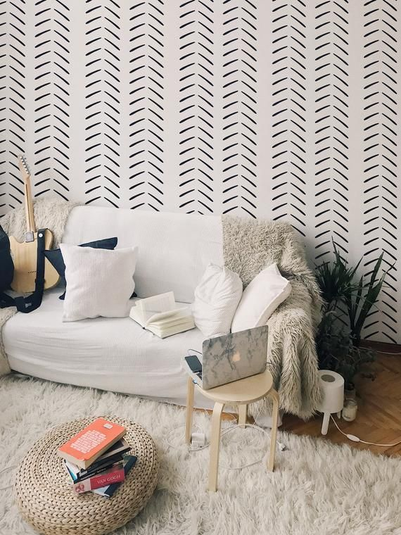 Geometric Black And White Removable Wallpaper Design Etsy Removable Wallpaper Geometric Wallpaper Design Designer Wallpaper