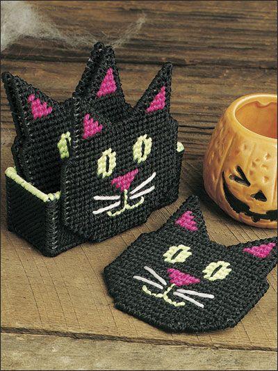 Plastic Canvas - Coaster Patterns - Seasonal & Holiday Patterns - Black Cat Coasters