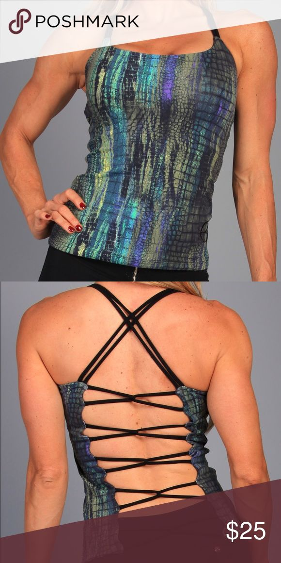 The Perfect Athletic Fashionista Top Turbocharge your workout Fabulous snake print top! Superior middle-weight Supplex that is able to wick away sweat and moisture, dries faster than cotton, fully breathable, and retains color fabulously. Fits beautifully and would be a great fit for all body types - Open back with crossing straps... perfect way to sport your favorite bra or tank top Made from Advanced Lightweight Brazilian Supplex & Premium Lycra ALO Yoga Tops Muscle Tees
