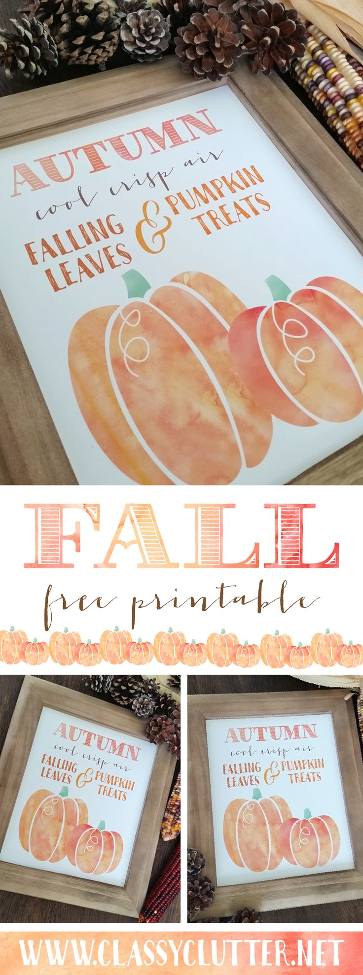 Fall Pumpkin Printable - Click to download yours for free! - www.classyclutter.net