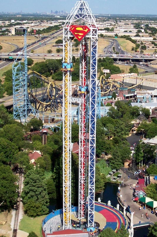 Superman. Gotta love the S combo towers, and the Dallas skyline just to the left. Six Flags Over Texas.