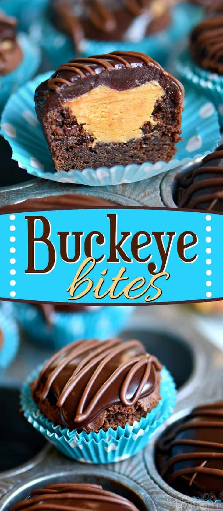 These Buckeye Bites are perfect for a crowd! Sweet chocolate cookie cups filled with a creamy peanut butter mixture and topped with decadent chocolate ganache - so good you guys! Wonderfully easy to make and and even better to eat. Serve with milk! // Mom On Timeout