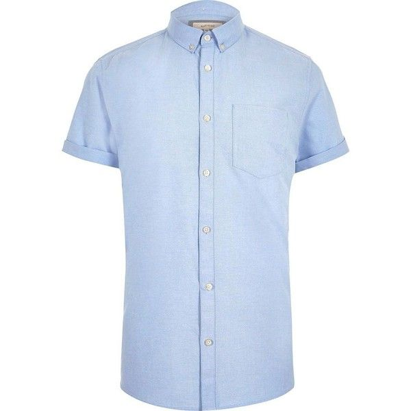 River Island Big and Tall blue short sleeve Oxford shirt (31 CAD) ❤ liked on Polyvore featuring men's fashion, men's clothing, men's shirts, men's casual shirts, blue, shirts, men's cotton short sleeve shirts, mens short sleeve button down collar shirts, mens casual short sleeve shirts and mens cotton shirts