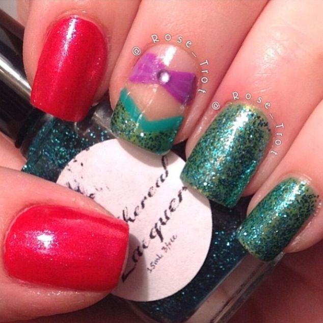 Ariel the little mermaid nail design #mermaid # nail art