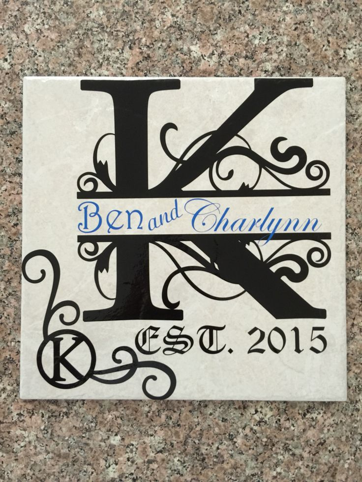 Split letter with extra on a tile. Don't forget to get yours today at Idaho Embroidery
