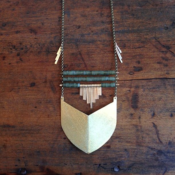 Demimonde Jade and brass necklace