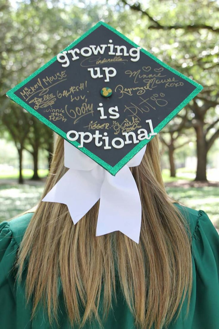 My Disney graduation cap with character signatures!