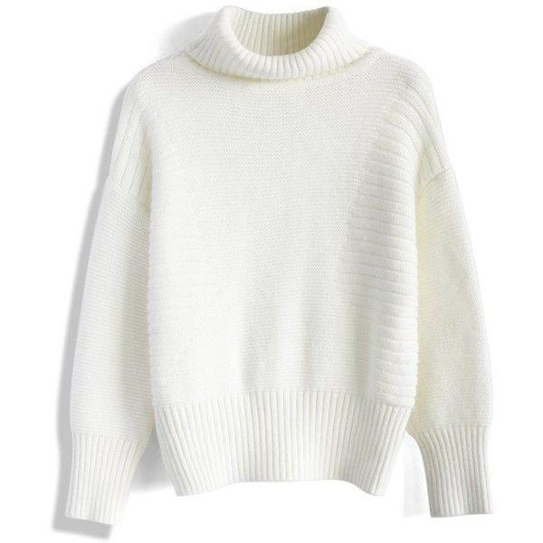 Chicwish Retro Turtleneck Sweater in White (£33) ❤ liked on Polyvore featuring tops, sweaters, shirts, jumpers, white, turtle neck top, white jumper, polo neck sweater, white turtleneck and retro sweaters