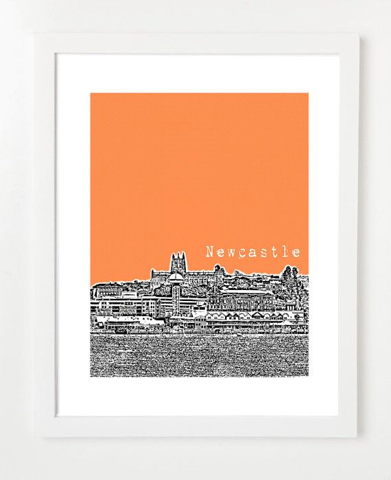 Newcastle Australia Skyline Art - City Skyline Series Poster - 8x10