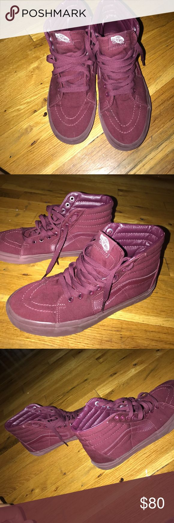 Burgundy Vans Sk8 Hi Skate Shoe hi-top design constructed with durable canvas uppers, signature leather side stripe, and clean, monochrome colorways.  You may contact me at 917-683-0396. TEXT ONLY and yes i do offers and deals. my price can go down lower, please buy my family need the money. AND YES THESE ARE STILL AVAILABLE Vans Shoes Sneakers