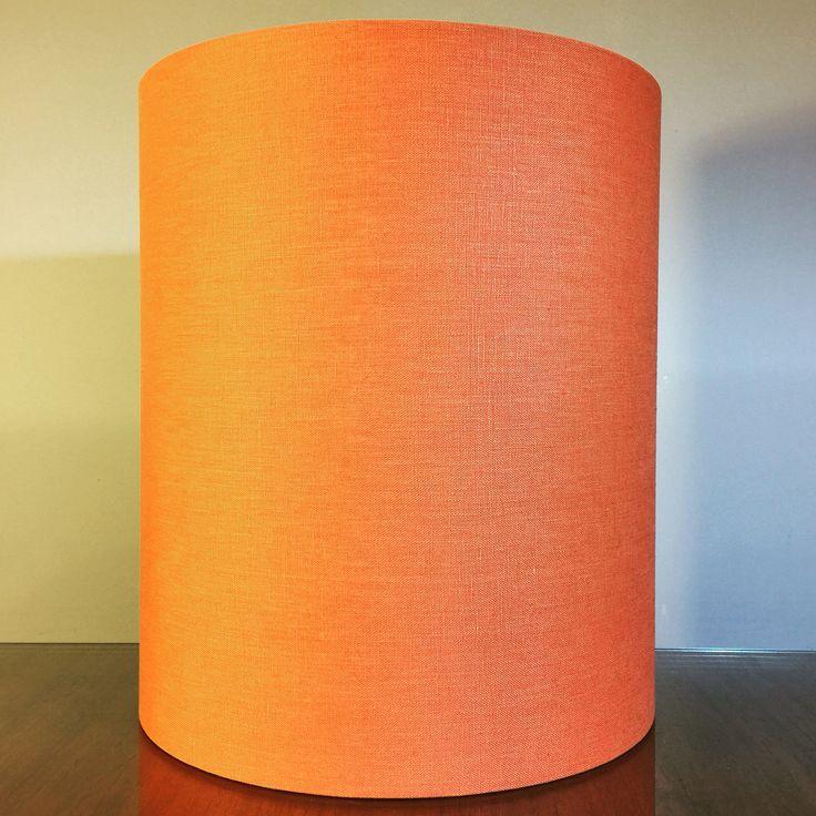 """Custom 12"""" D orange linen lampshade for a customer  #lampshades #lampshade #customlampshades #lighting #decor #homedecor #design #interiordesign #textiles #handmade #australianmade #custom #linen #redfern #grahamandgraham"""