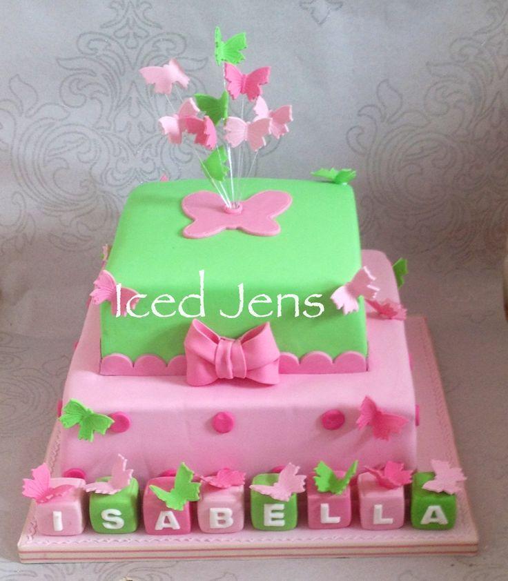 Bright butterfly christening cake