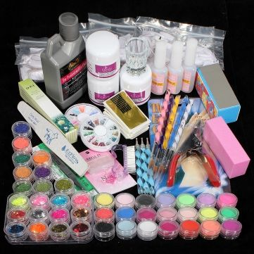 Acrylic Nail Powder Brush Glitter Clipper File Complete Kit