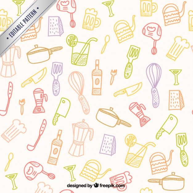 Free vector Hand drawn kitchen tools pattern #7025