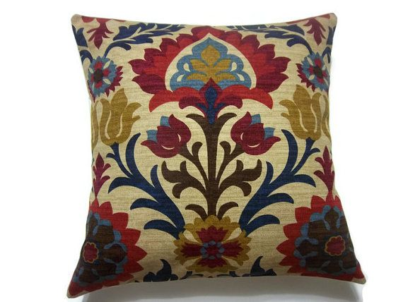 Decorative Pillow Cover Ikat Crimson Red Gold Navy Blue