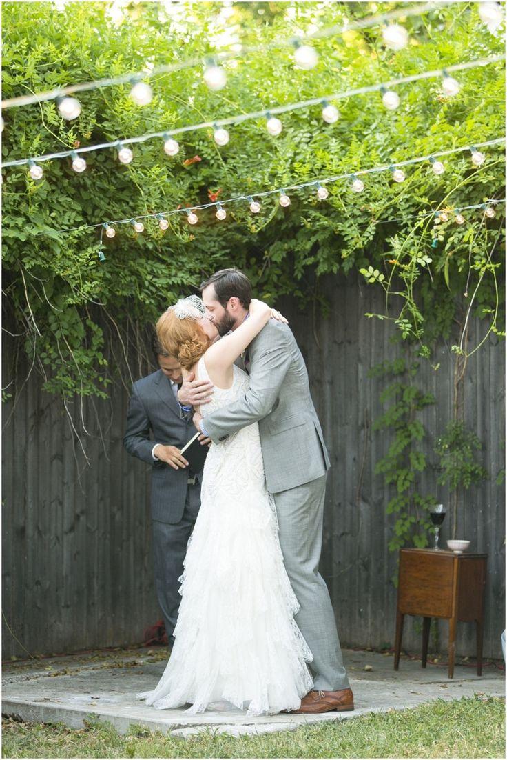 Dallas wedding photographer, outdoor wedding ceremony, market light wedding ceremony decorations, ruffled wedding dress, gray groom suit, DIY Backyard Wedding | Dallas, TX » Mary Fields Photography