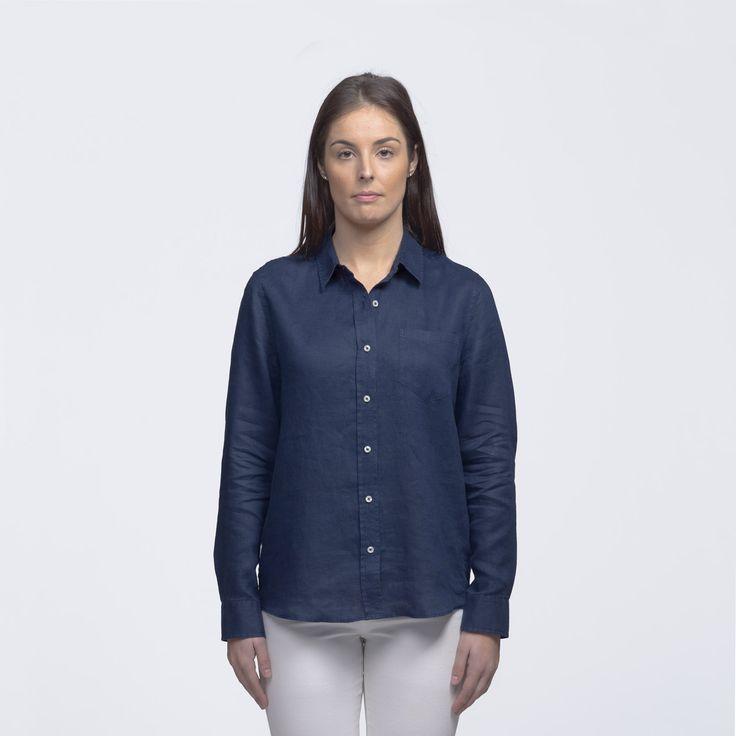 Womens Navy Linen Shirt | smpli - 2 Colours