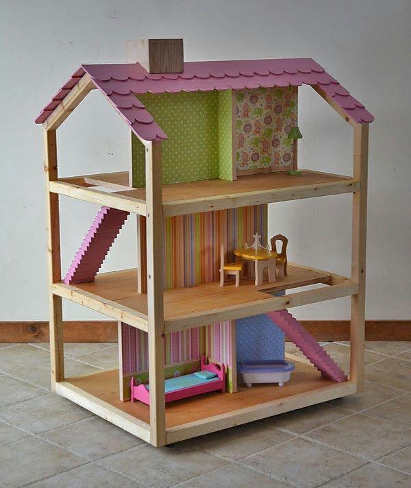 Puppenhaus Holz selber bauen 10 Zimmer