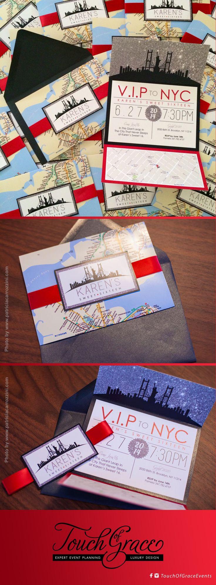 New York City theme invitations. NYC skyline. NYC Subway Map. Sweet 16 invitations.