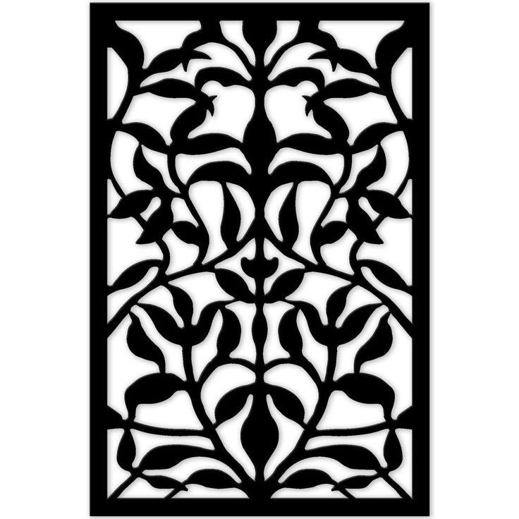 Acurio Latticeworks 1/4 in. x 32 in. x 4 ft. Black Olive Branch Vinyl Decorative Panel-3248PVCBK-OLVBR - The Home Depot