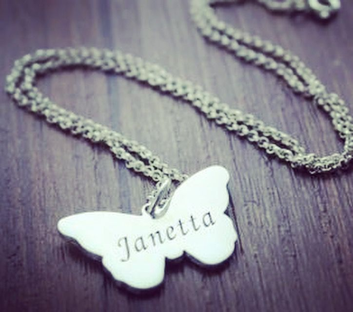 Butterfly name necklace sterling silver - animal collection
