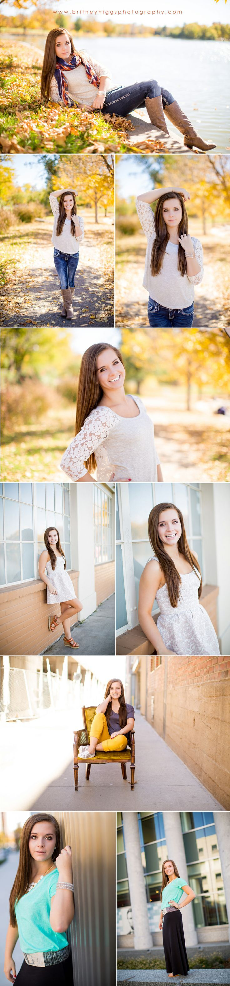Love the idea of Fall senior pictures!  That piece of hair on the second set drives me nuts, though.  Easy Photoshop fix.