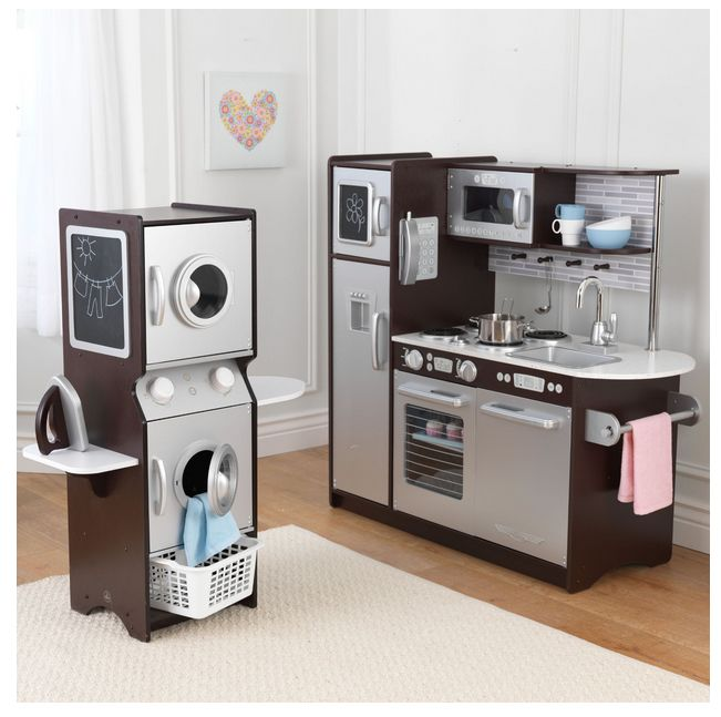 Kidcraft Kitchen And Laundry Playset Product Description: The laundry unit of the kitchen and laundry playset offers a sleek and space saving design. Each door and porthole window opens and closes, wh