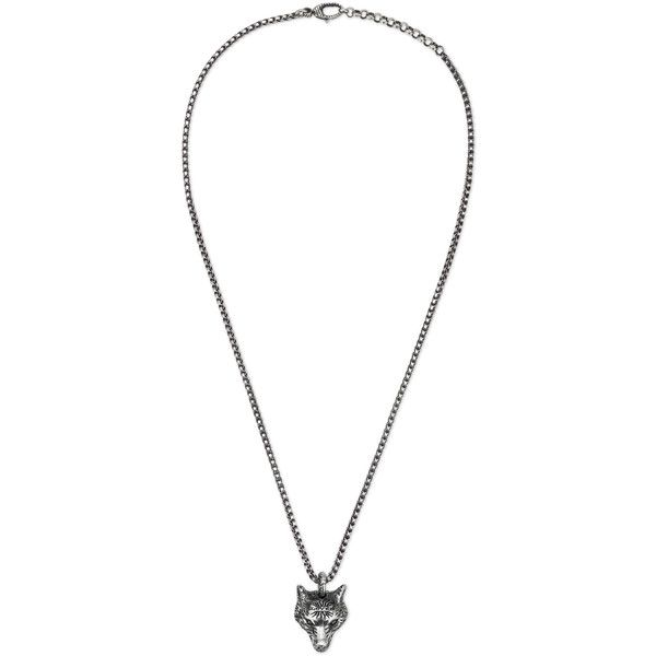 Gucci Anger Forest Wolf Head Necklace In Silver (2.615 DKK) ❤ liked on Polyvore featuring jewelry, necklaces, silver, animal print necklace, animal pendant necklace, silver pendant, adjustable chain necklace and chain pendants