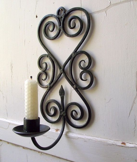 Wrought Iron Candle Sconce Vintage Black Metal Wall Sconce