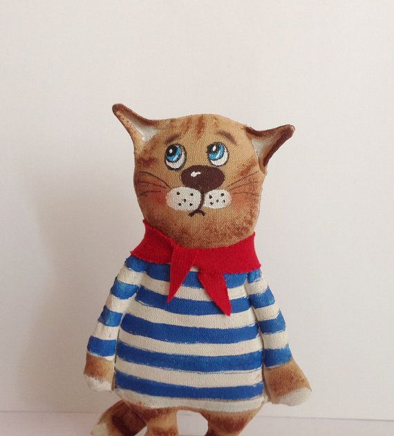 Stuffed animal-Animal toy-Soft Animal-Fabric toy-Animal gift-Gift toy-Cat sailor-Toy animal-Animal art-Rag toy-Stuffed toy Cat-Trending item-Autumn gift-November gift- Tren... #artdoll #pattern #handmadedoll #pdf #sewing