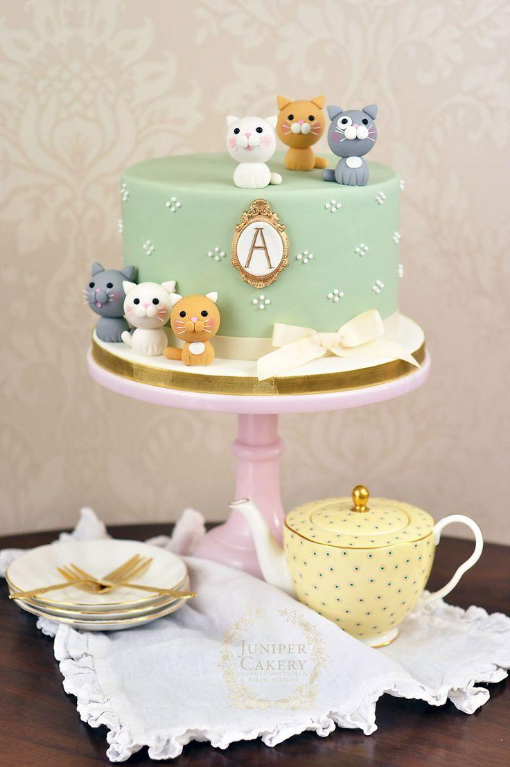 Kitten themed cake by juniper cakery cake pinterest for Decoration e