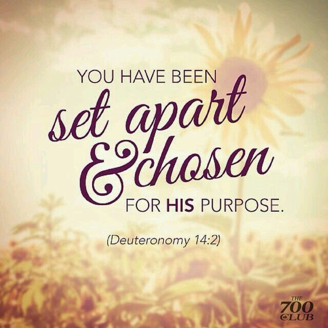 You have been chosen and set apart for His purpose.