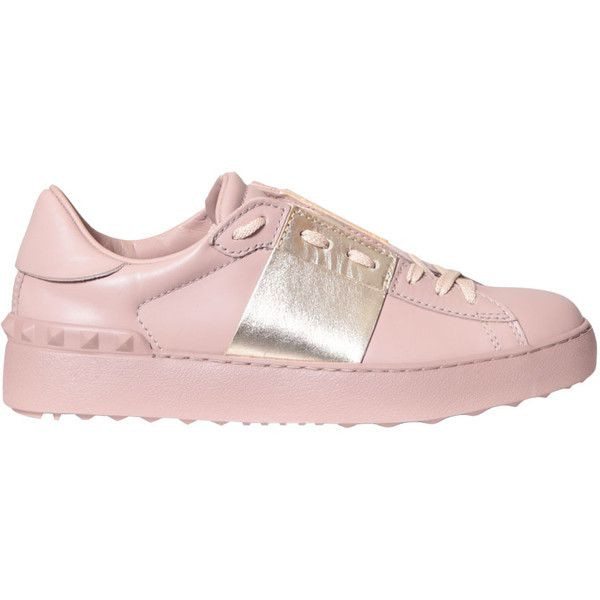 Valentino Garavani Leather Open sneakers ($542) ❤ liked on Polyvore featuring shoes, sneakers, zapatos, обувь, pink, pink sneakers, leather footwear, studded shoes, rubber sole shoes and pink leather shoes