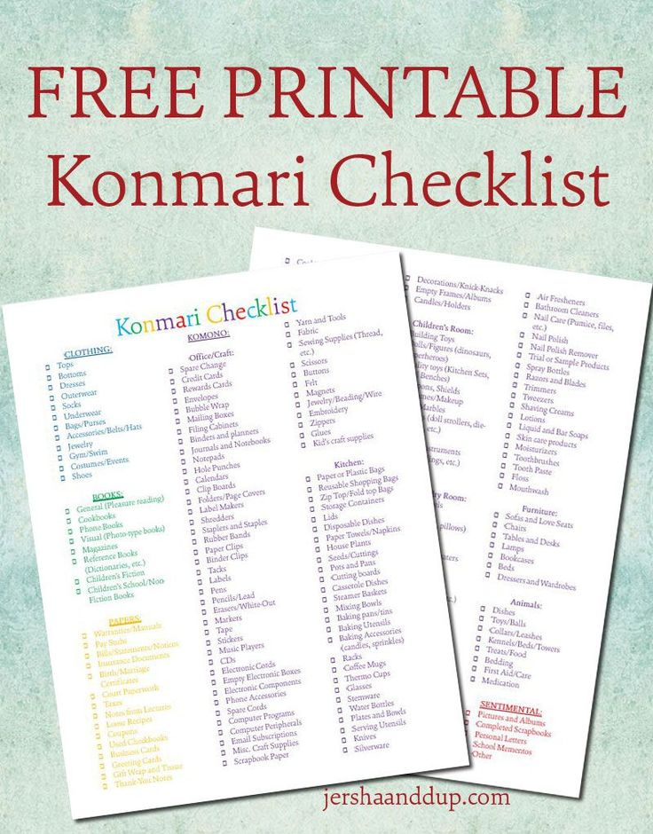 konmari checklist free printable follow me creative and my life. Black Bedroom Furniture Sets. Home Design Ideas