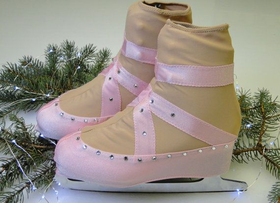 Skating to music from the Nutcracker ballet and want to look like a ballerina? These blush pink ballet slipper skating boot covers will complete your look! The boot covers are made of a heavy weight lycra, and the ribbon is sewn onto the boot covers, ensuring the toe pick doesn't catch on fabric, and nothing comes undone. The center seams are double stitched with an overlock stitch, and extra reinforcement is added to pressure points.