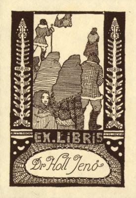 Bookplate by Kálmán Tichy for Holl Jenő, 1909