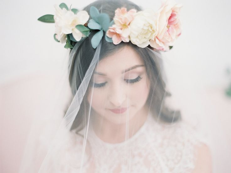The Savannah Floral Crown created with blush pink…