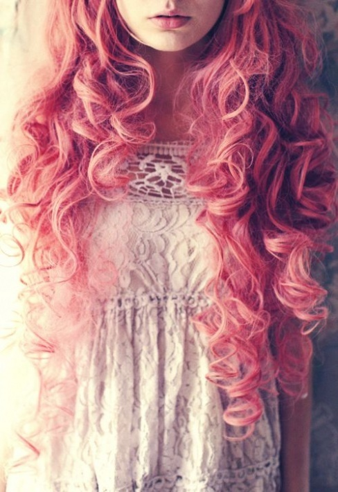 lovely curly soft pink hair