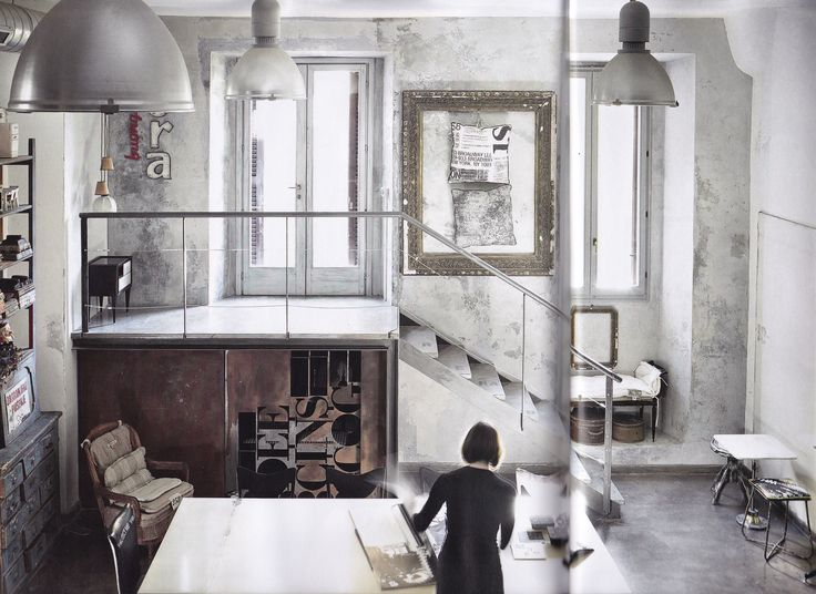 New Post: Italian Upcycling Distressed industrial interiors, studio, workspace
